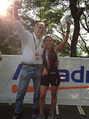 Showerman and Laura at finish